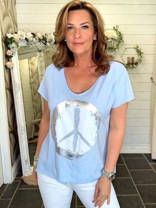 baby blue peace t-shirt