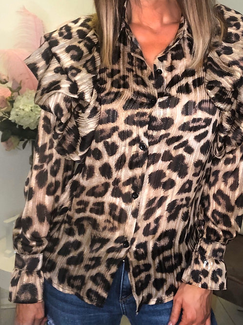 Leopard Frill Shoulder Shirt