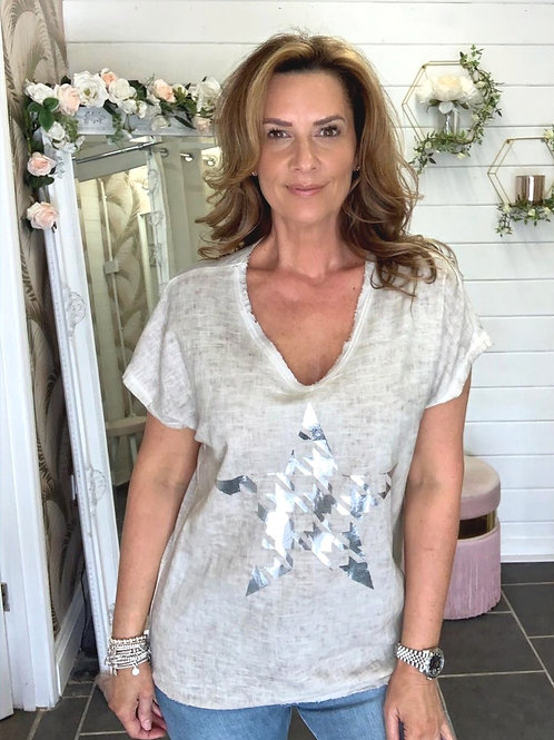 Beige star T-shirt