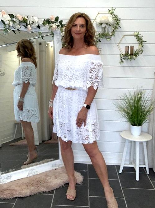 White Lace Bardot Dress