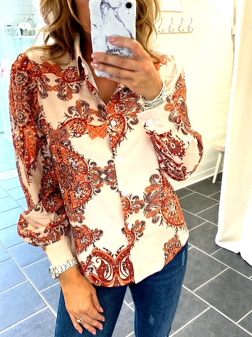 ORANGE PAISLEY PRINT SHIRT