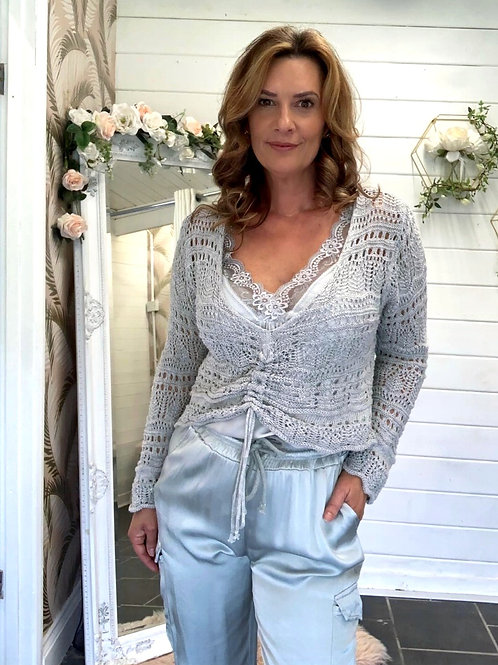 Grey crochet top