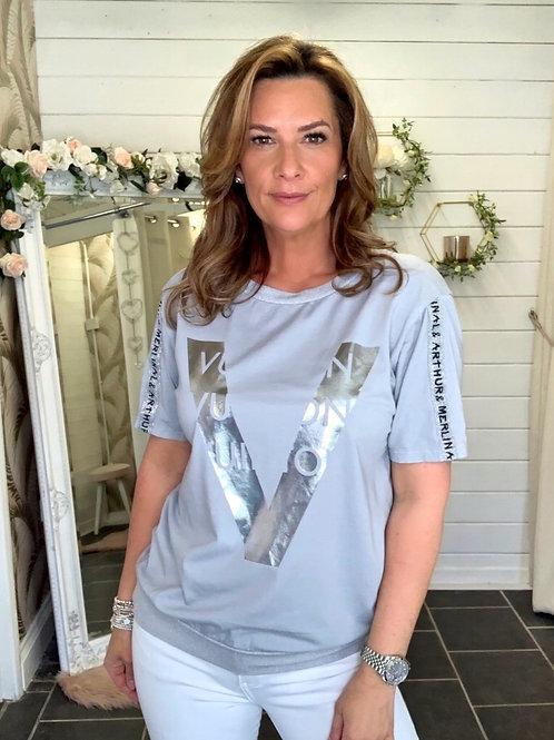 grey v t-shirt