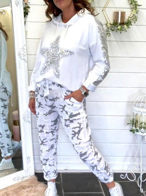 White linen camo trouser