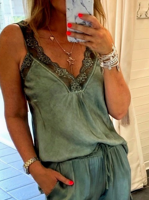 Khaki Cami With Lace Detail