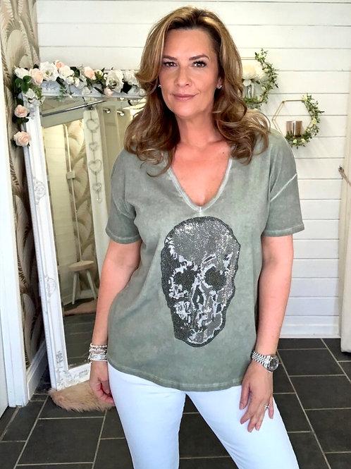 khaki skull t-shirt