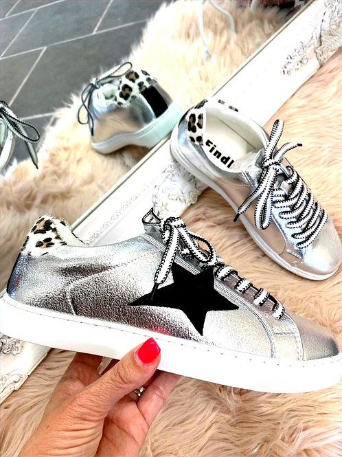 Silver Trainers with Black Star and leopard detail