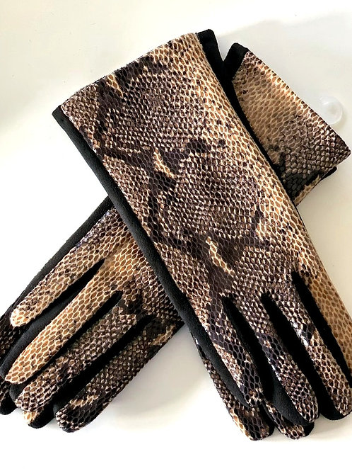 Black/tan snake print glove