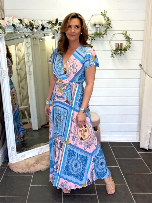 Blue Pleated Printed Dress