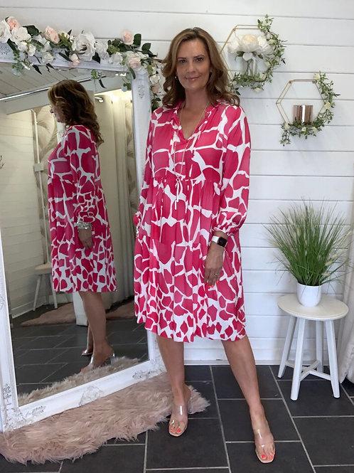 Pink giraffe print Dress