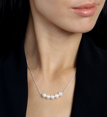 Pixie 5 Pearl Necklace - Silver or Rose Gold plated