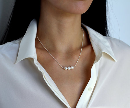 Pixie 3 Pearl Silver Necklace
