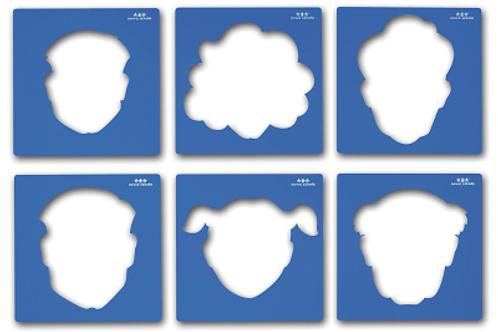 """Trafaretu komplekts """"Lielās sejas"""" A4, 6gb. NS0911"""