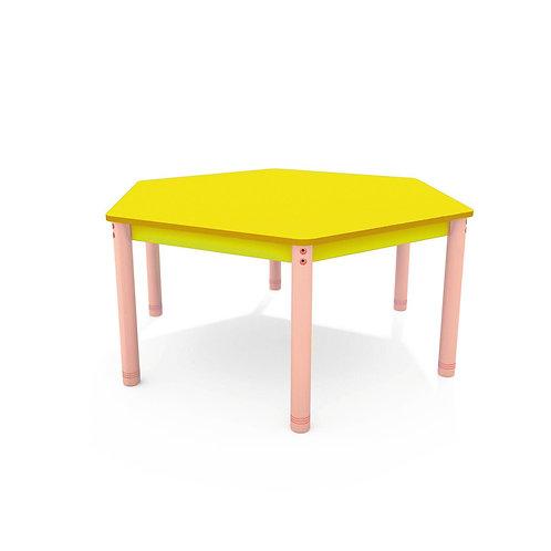 Sešstūrveida galds ar krāsainu virsmu - 4 krāsas