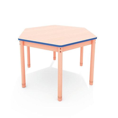 Sešstūrveida galds ar krāsainu malu - 4 krāsas
