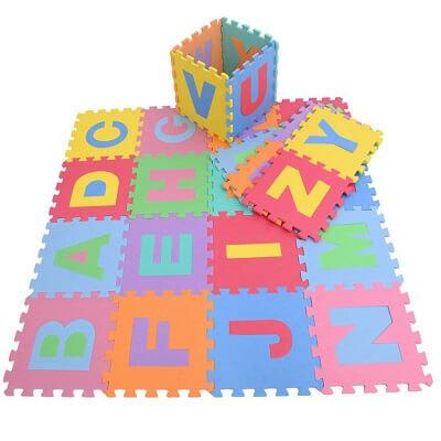 Mīksts paklājs - puzle ar krāsainu alfabētu MW0929