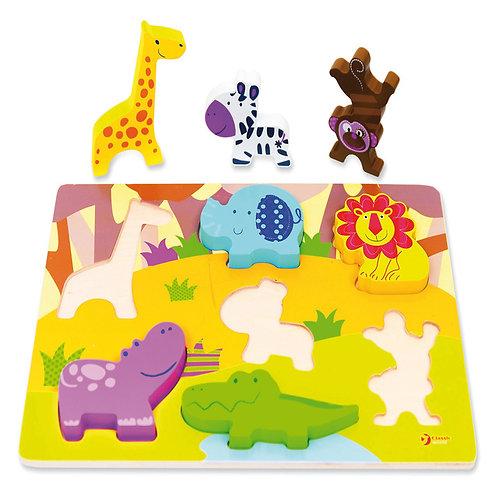 """Koka 3D puzle """"Savvaļas dzīvnieki"""" 30x22cm CI3551"""