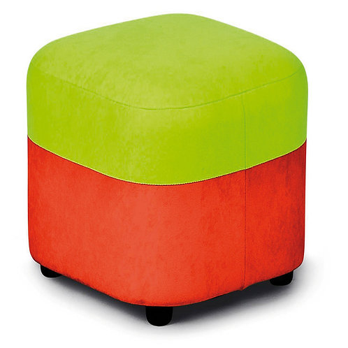 Pufs oranžs ar zaļu 40x40x30cm NS1017