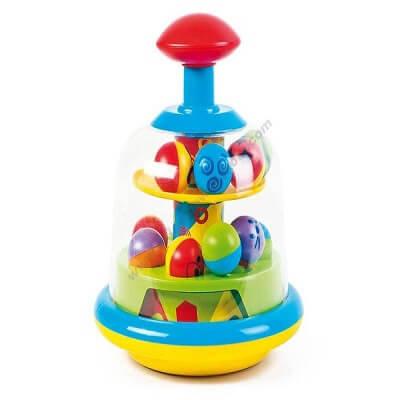 Rotaļlieta vilciņš ar krāsainām bumbiņām