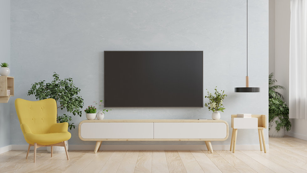 smart-tv-on-the-blue-wall-in-living-room