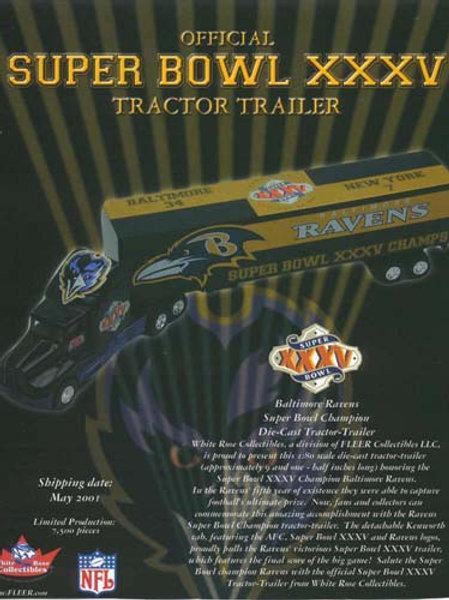 2001 Baltimore Ravens Super Bowl XXXV (35) Tractor Trailer