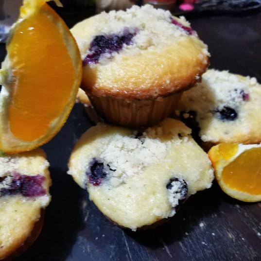 Orange blueberry crumb muffins