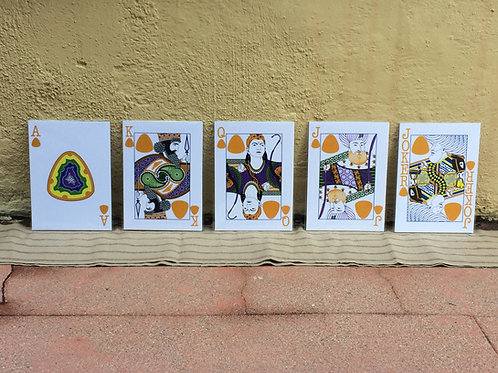 "Set of Five 5"" x 7"" Face Card Prints (By Suit)"