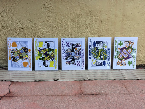 """Set of Five 5"""" x 7"""" Face Card Prints (By Rank)"""