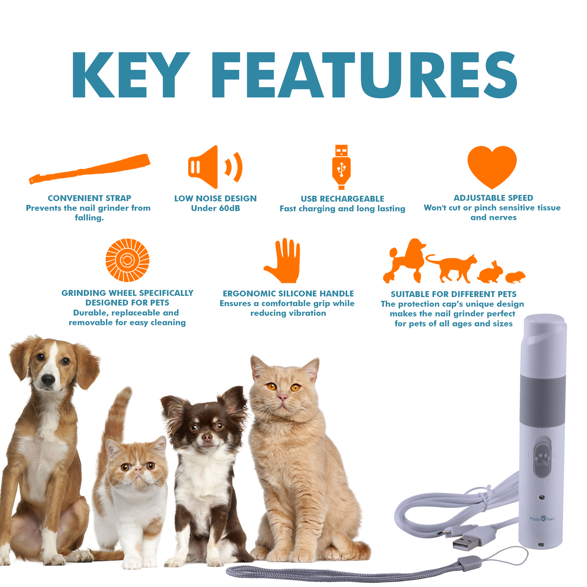 Presto Paws Nail Grinder Key Features