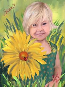 Child Portrait w Sunflower