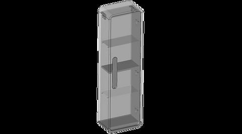 Hanging pillar, one door, glass shelves.