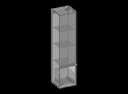 Högskåp, en dörr, en låda, glashyllor.pn