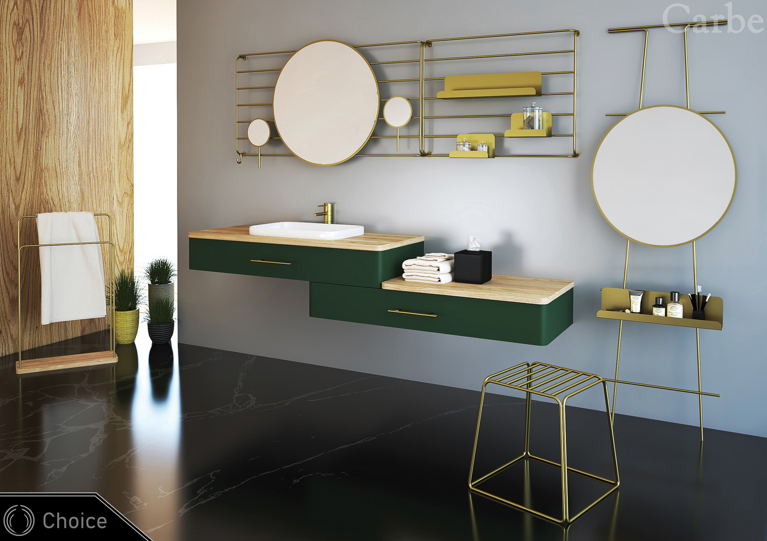 Choice - Green Supermatt, Natural Ash Wood, Dolmite Washbasin, Soft Closing