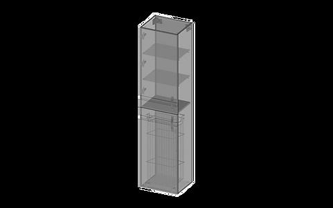 Högskåp, två dörrar, tvättkorg, glashyll