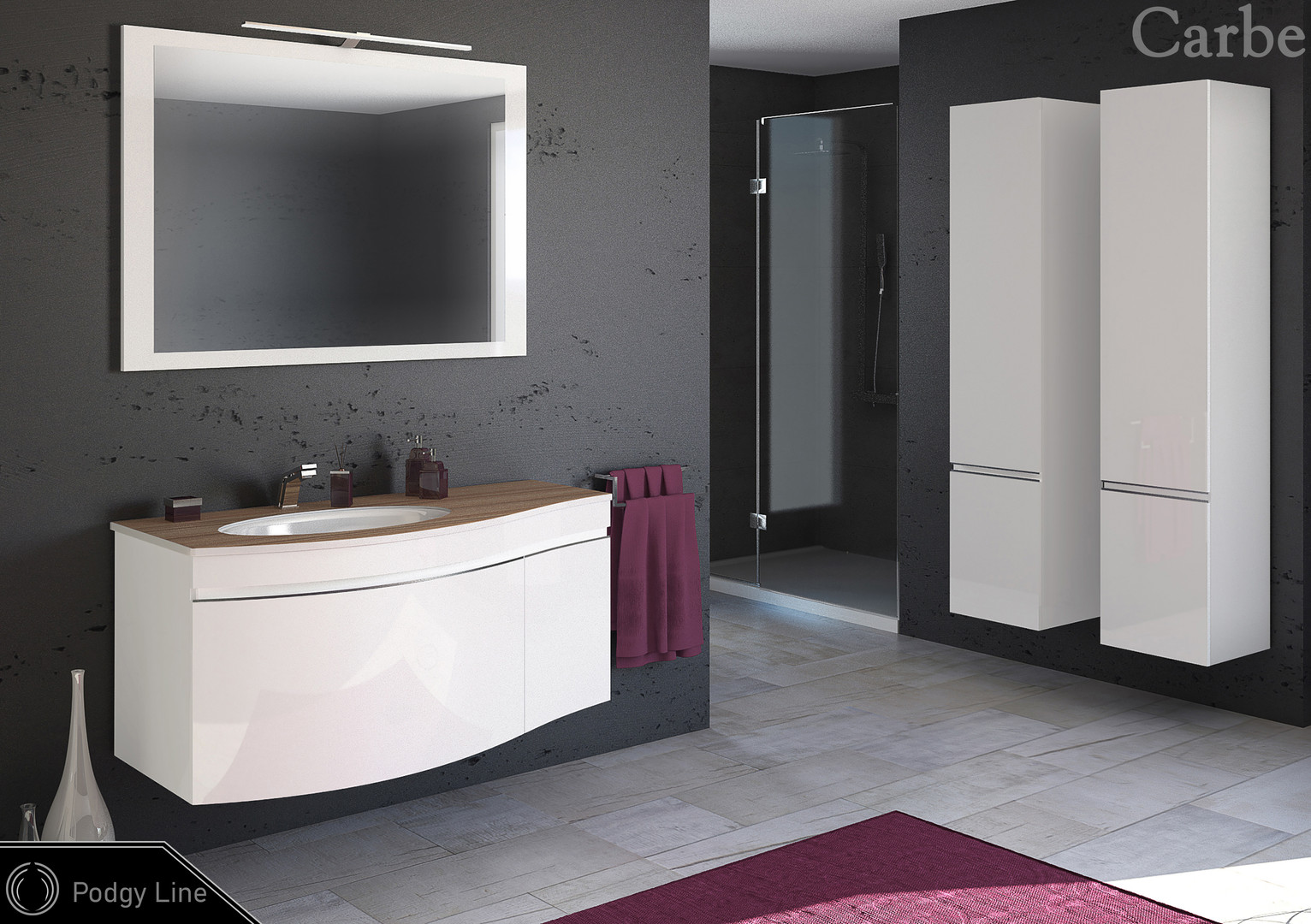 PodgyLine - Artic White HG, HPL Top - Dubai Ebony, Ceramic Washbasin, Soft Closing