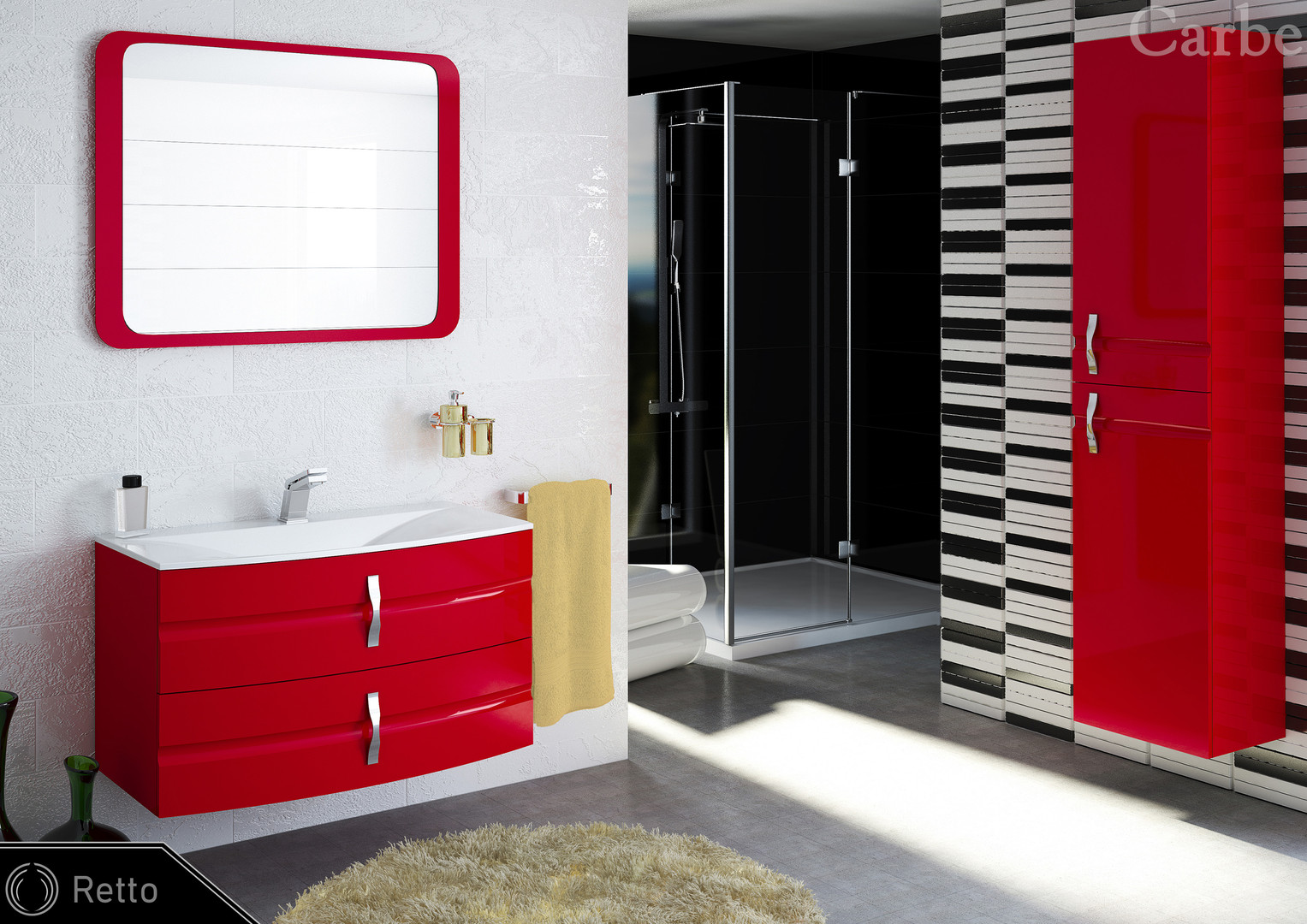Retto - Rosso High Gloss, Dolmite Washbasin, Soft Closing