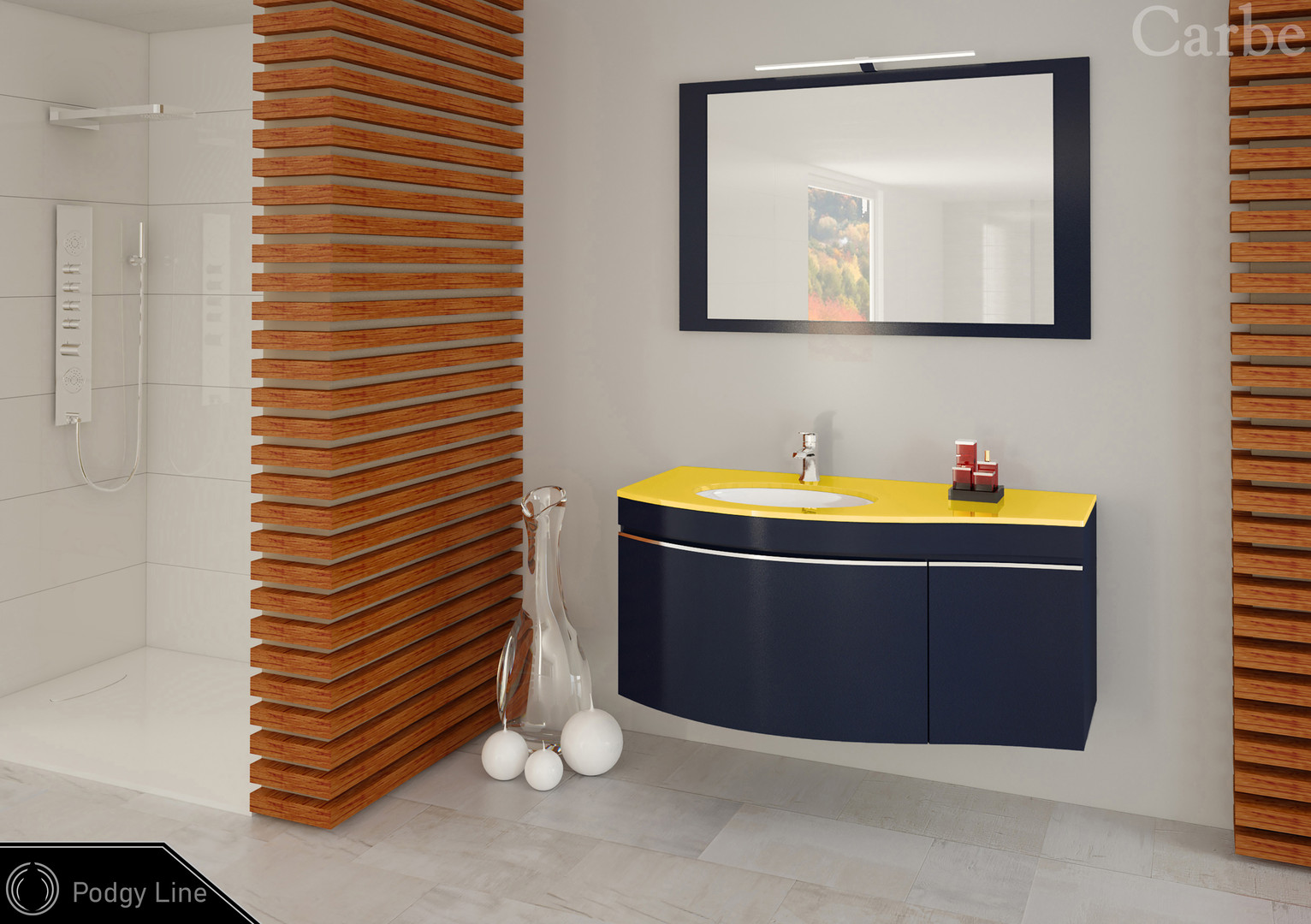 PodgyLine - Nightblue, Glass Top - Yellow, Ceramic Washbasin, Soft Closing