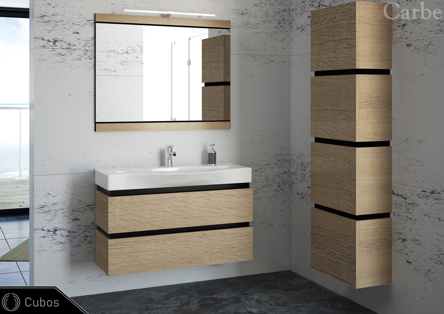 Cubos - Oak Bardolino Grey, Ceramic Washbasin, Soft Closing