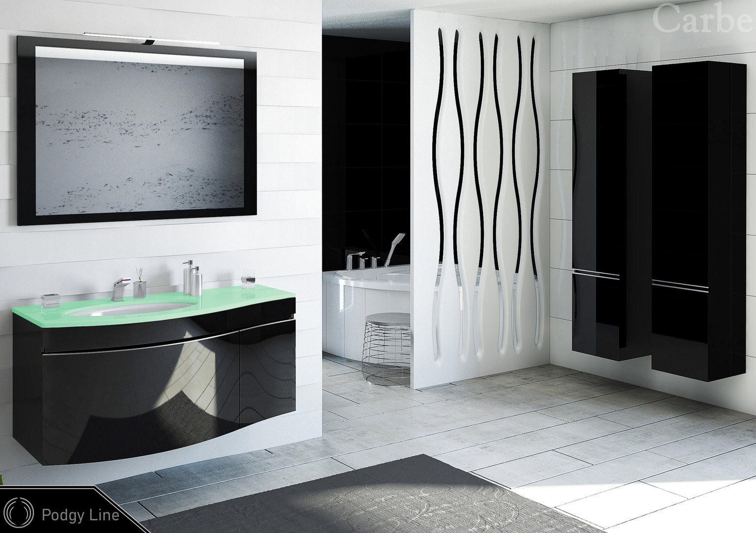PodgyLine - Black HG, Glass Top - Green, Ceramic Washbasin, Soft Closing