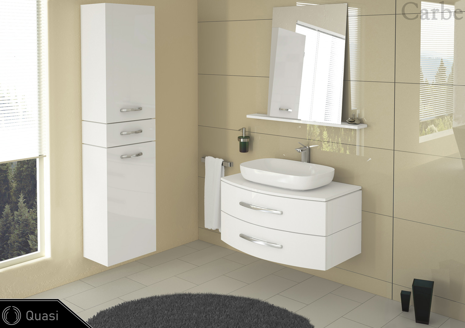 Quasi - Snow White HG, Arctic White HG, Ceramic Washbasin, Soft Closing