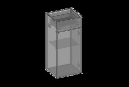 Vägghängt skåp, en dörr, en låda, glashy