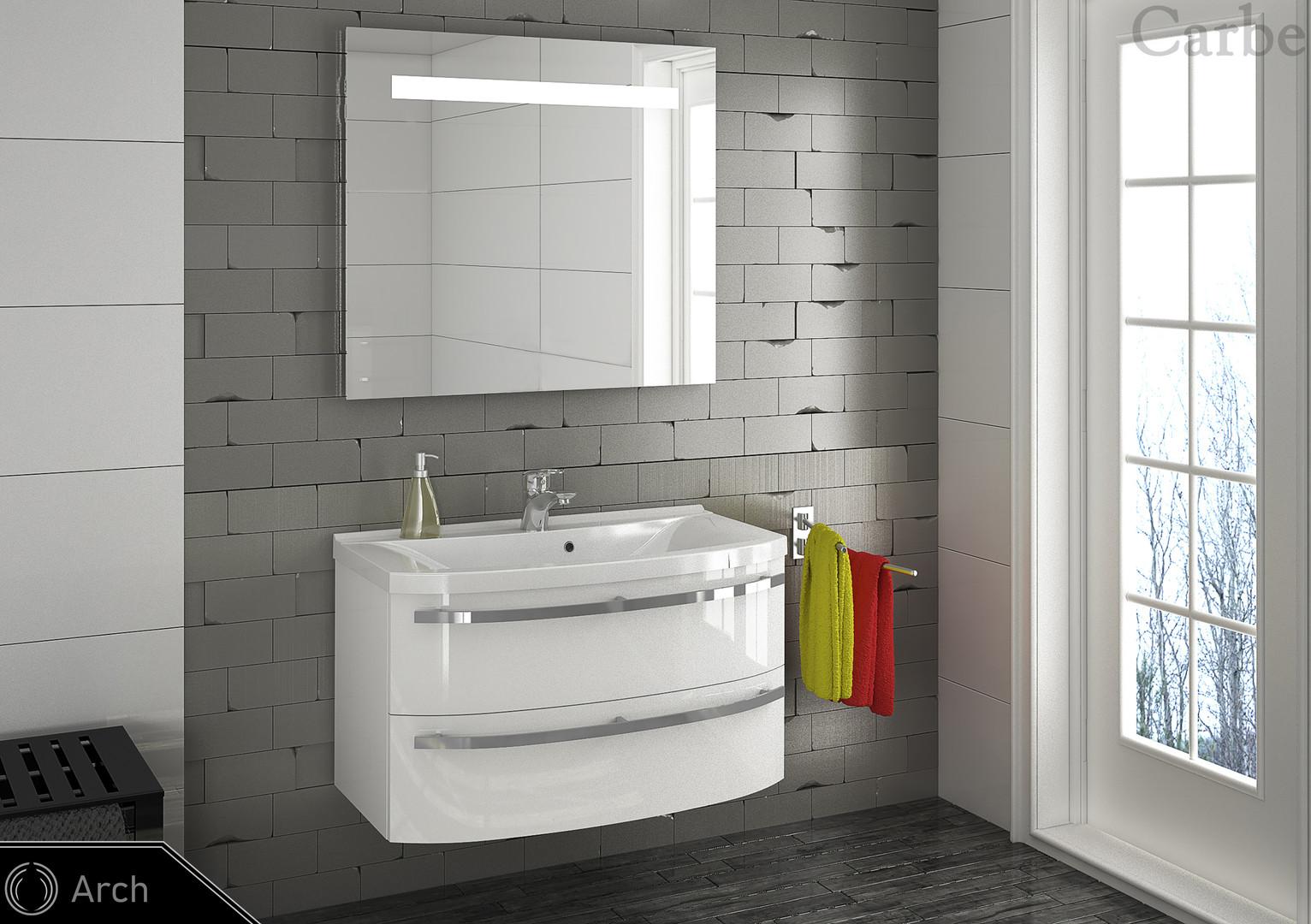 Arch - Artic White High Gloss, Dolmite Washbasin, Soft Closing