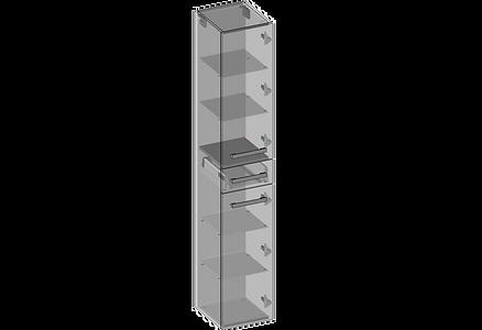 Högskåp två dörrars en låda glashylla.pn