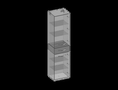 Högskåp, två dörrar, en låda, glashyllor