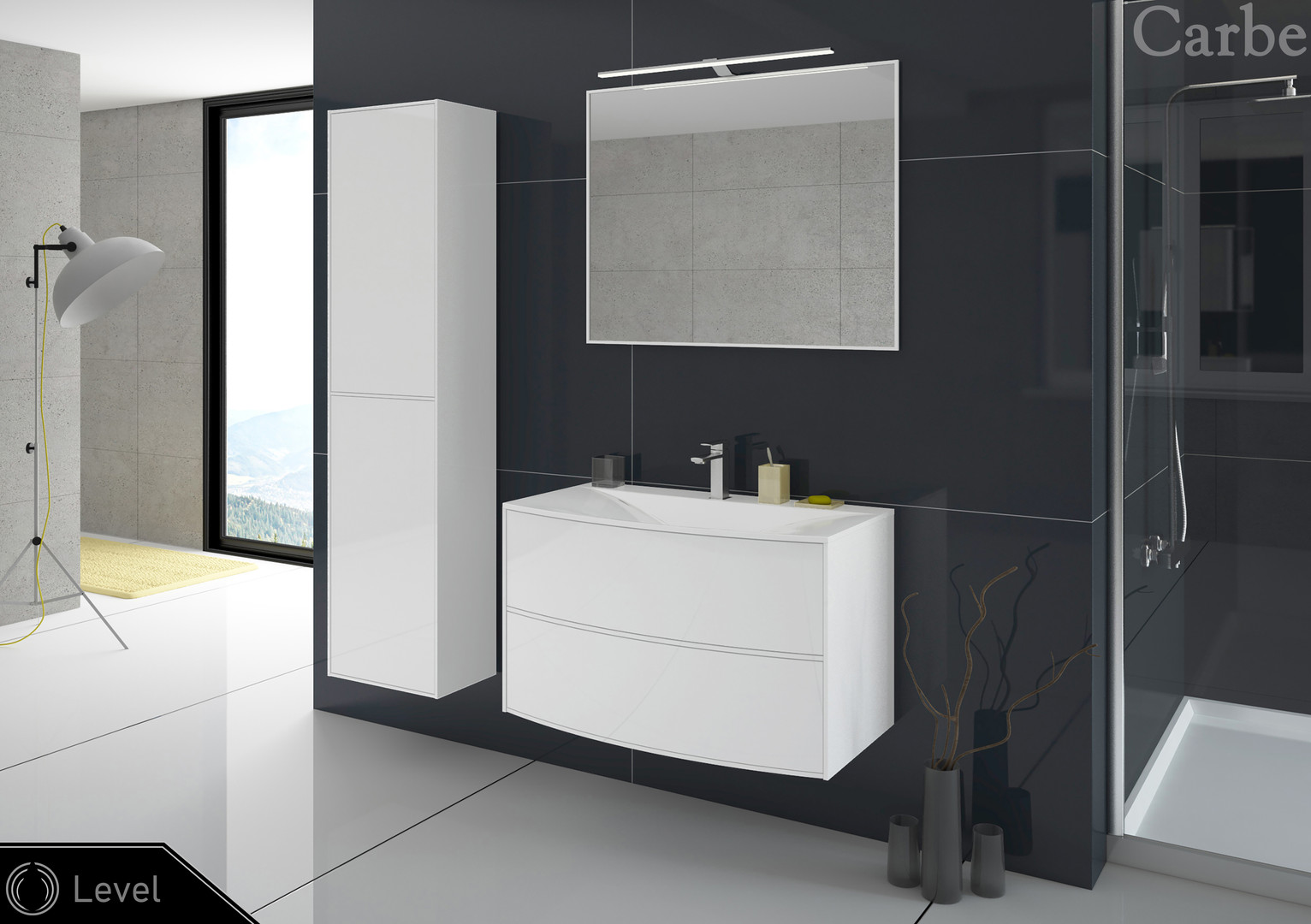 Level - Arctic White HG, Dolmite Washbasin, Soft Closing, Push To Open