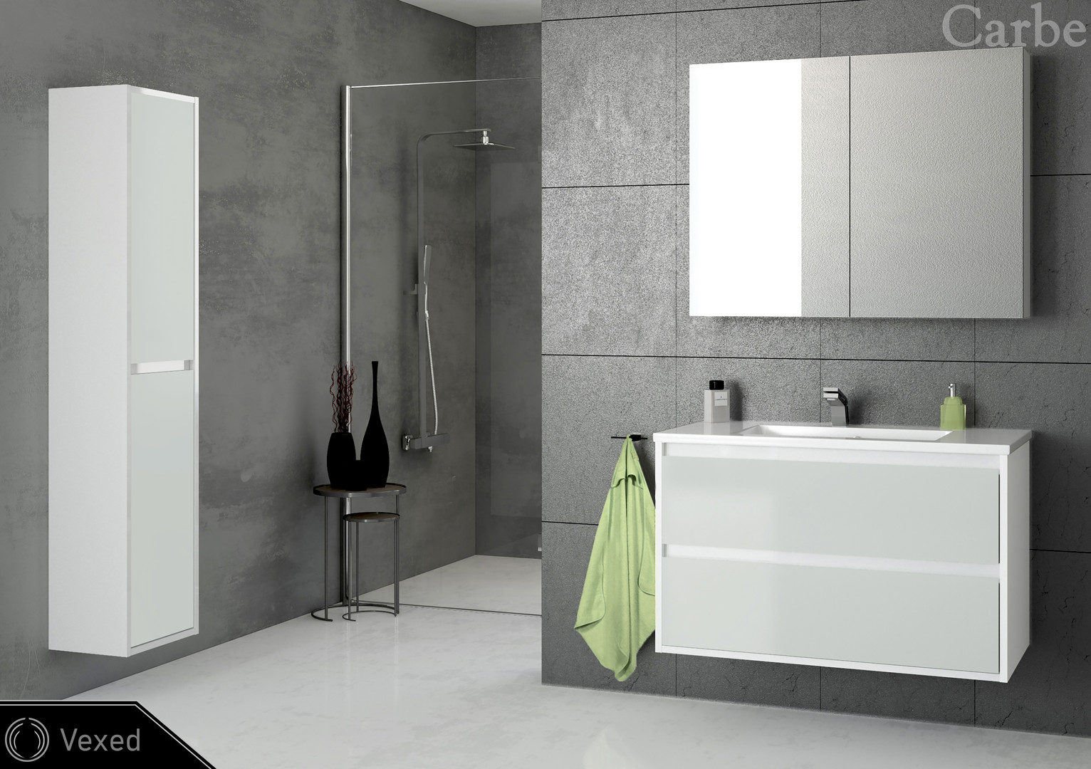 Vexed - Arctic White HG, Classic Grey Glass, Dolmite Washbasin, Soft Closing