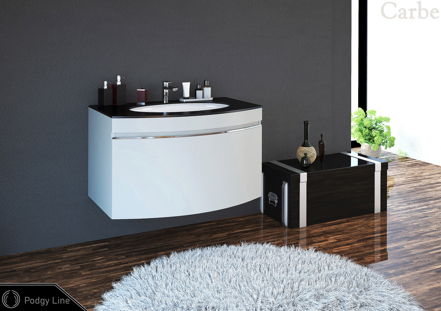 PodgyLine - Pearl Grey Supermatt, Glass Top - Black, Ceramic Washbasin, Soft Closing