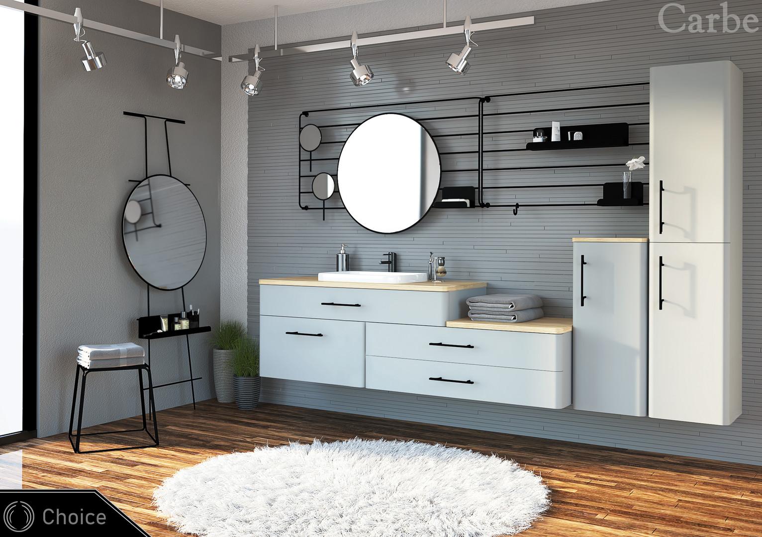 Choice - Pearl Grey Supermatt, Natural Ash Wood, Dolmite Wasbasin, Soft Closing