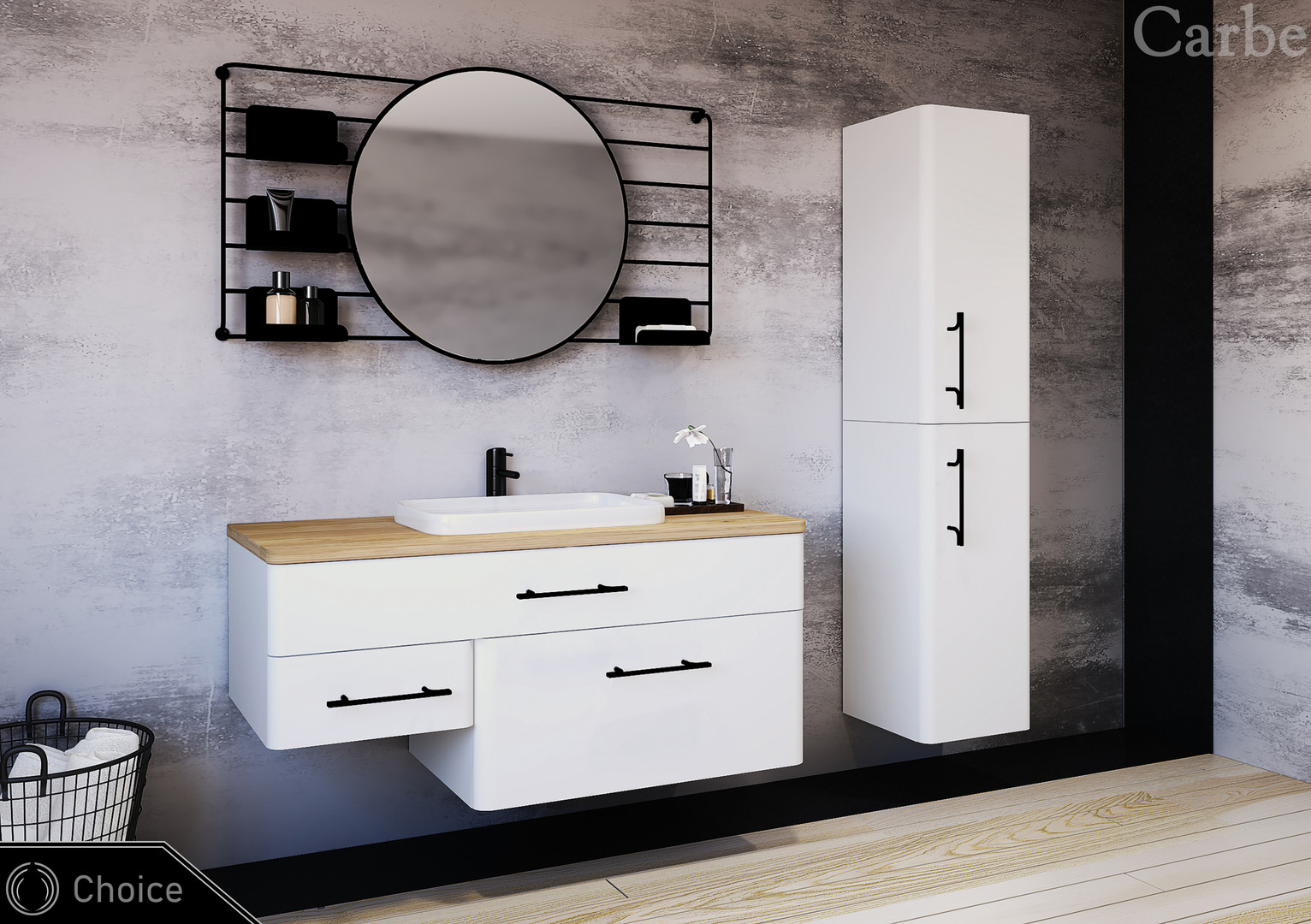 Choice - Premium White Supermatt, Natural Oak Wood, Dolmite Washbasin, Soft Closing