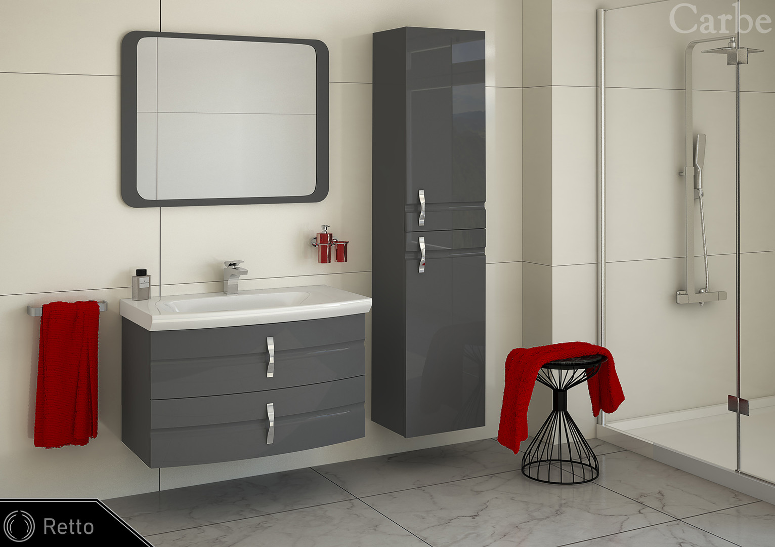 Retto - Agave High Gloss, Ceramic Washbasin, Soft Closing